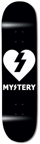 Boards - Mystery Skateboards Black and White Heart 8.125