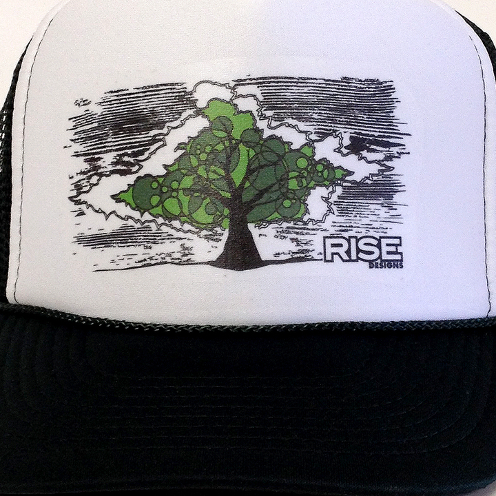 Rise Designs Conscious Tree Trucker Hat - Dark Green White
