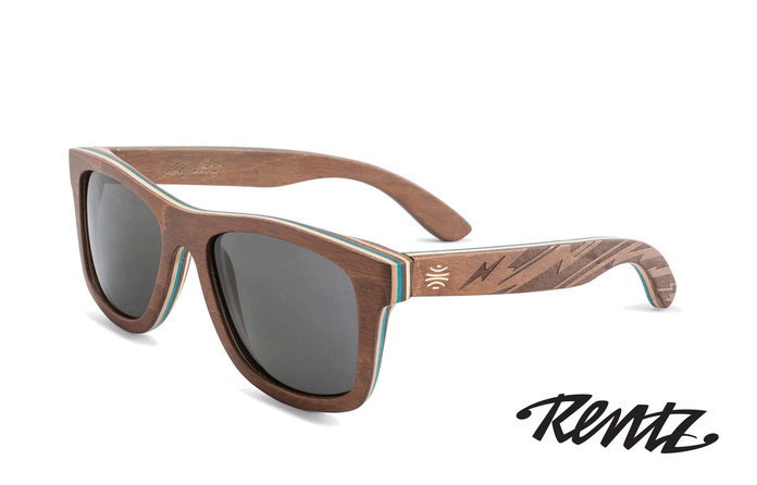 Bosky Optics Vallely Engraved Wood Sunglasses with Turquoise Polarized Grey Lens