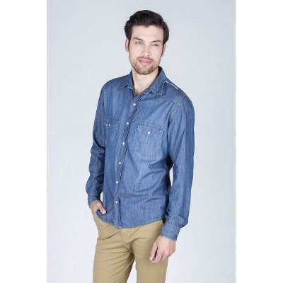 Mangas Largas - Kout Camisa Denim Lond New