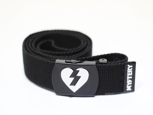 Belts - Mystery Skateboards MYSTERY HEART WEB BELT BLACK