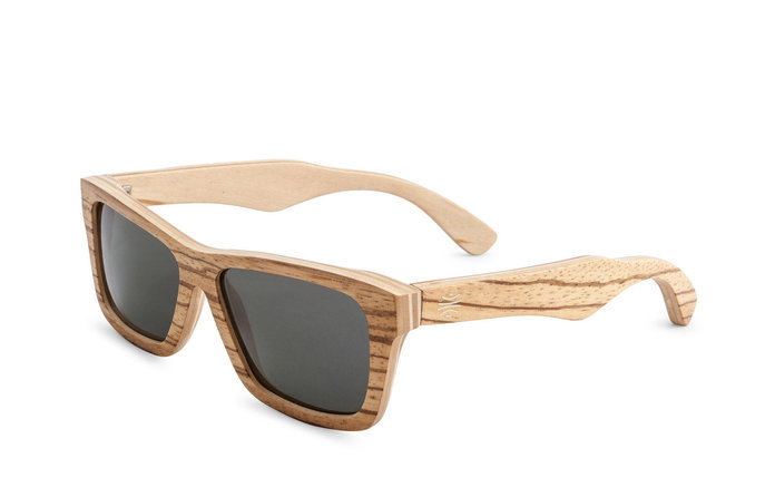 Bosky Optics Kiwara Zebrawood Sunglasses Polarized Grey Lens