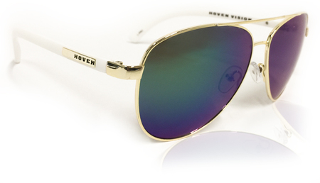 Sunglasses - Hoven Vision DEWEY White Matte-Gold/Polarized