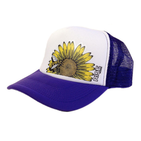 Rise Designs Bee Flower Trucker Hat - Purple White