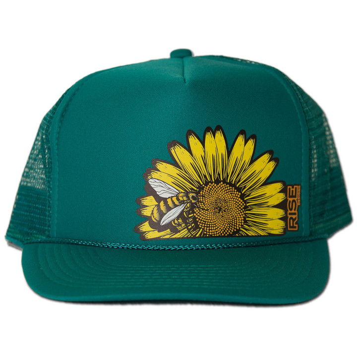 Ball Caps & Snapbacks - Rise Designs Sunflower Bee Trucker Hat - Jade