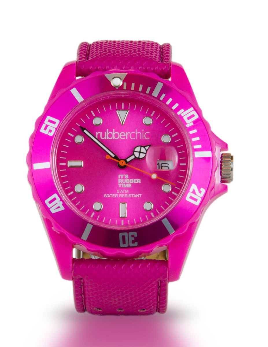 Relojes - Rubberchic Reloj Basic Leather Fucsia 43mm