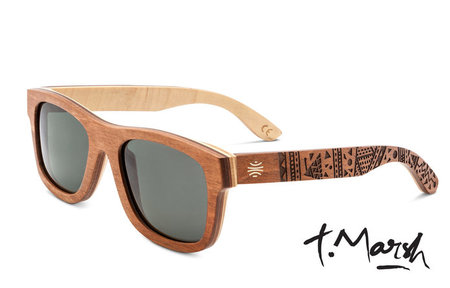 Bosky Optics Tim Marsh V2 Engraved Wood Sunglasses Polarized Grey Lens