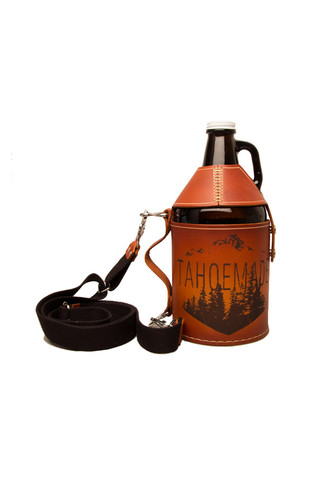 More - TAHOEMADE Leather Growler Carrier w/ Shoulder Strap