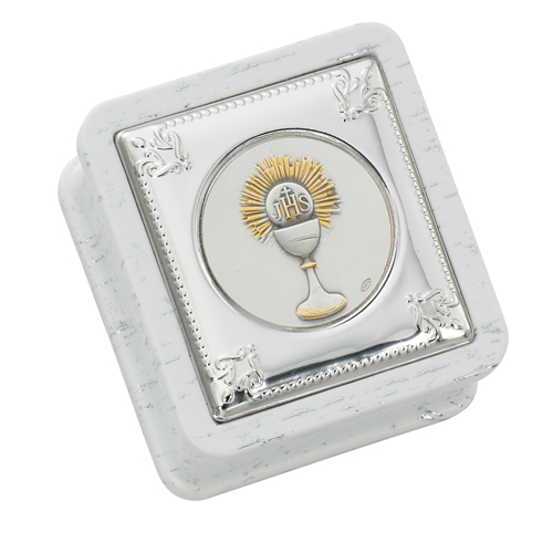 White First Communion Box With Silver Chalice Medallion