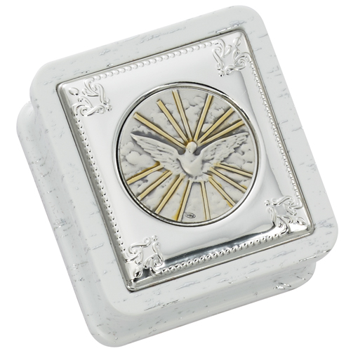 White Confirmation Box With Silver Holy Spirit Medallion