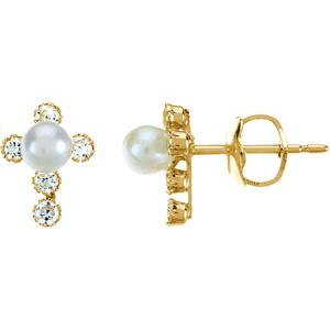 Childrens Pearl and Cubic Zirconia Cross Earrings with Backs - Pair