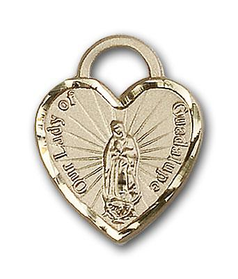 14kt Gold Our Lady of Guadalupe Heart Medal - Engravable