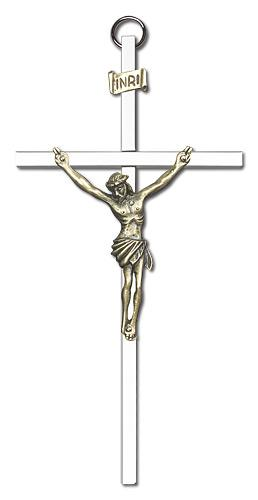 6-inch Gold Crucifix Silver Finish Cross