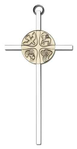 6-inch Gold Christian Life Silver Finish Cross