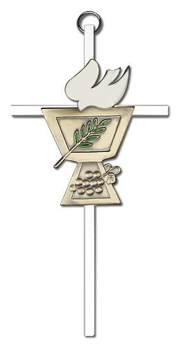 6-inch Gold Confirmation Chalice Silver Finish Cross