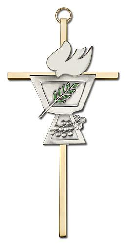 6-inch Silver Confirmation Chalice Brass Cross