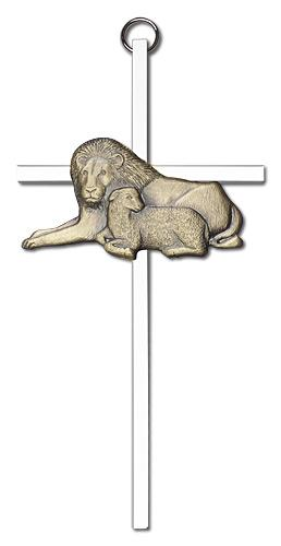 6-inch Gold Lion & Lamb Silver Finish Cross