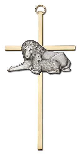 6-inch Gold Lion & Lamb Brass Cross