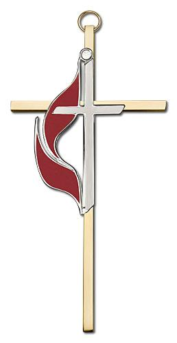 6-inch Polished Silver Finish Enamel Methodist Brass Cross