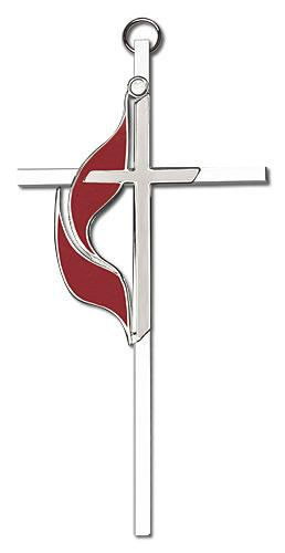 6-inch Polished Silver Finish Enamel Methodist Silver Finish Cross
