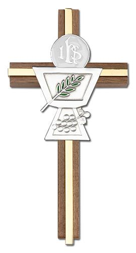 6-inch Enameled First Communion Chalice Cross, Walnut w/ Gold inlay