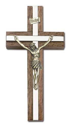 4-inch Gold Crucifix, Walnut w/ Polished Silver Finish inlay