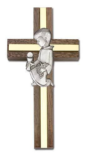 4-inch Communion - Boy Cross, Walnut w/ Silver inlay