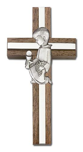 4-inch Communion Boy Cross, Walnut w/ Silver inlay