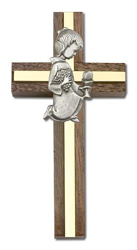4-inch Communion Girl Cross, Walnut w/ Silver inlay