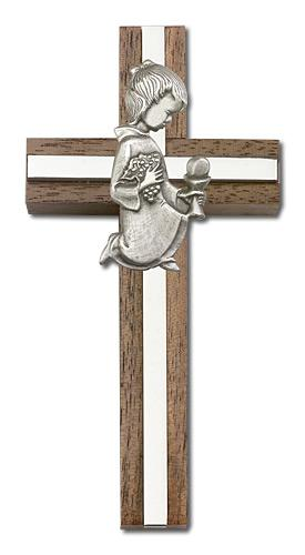 4-inch Communion Girl Cross, Walnut with Silver inlay