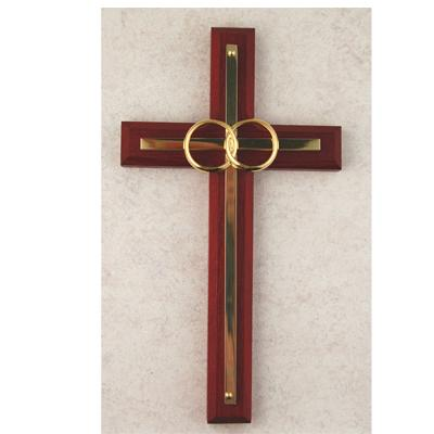 6 1/2 Inch Cherry With Brass WEDDING Cross