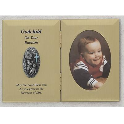 Baptism Photo Plaque for Godchild - Boy