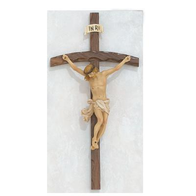 16-Inch Walnut Bent Log Crucifix