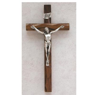 10-Inch Carved Walnut Crucifix Gold
