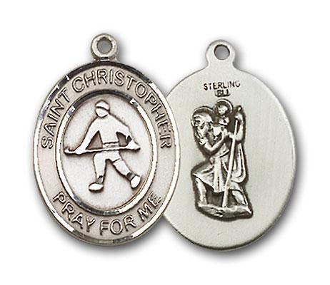 Sterling Silver St. Christopher Field Hockey Medal - Pendant