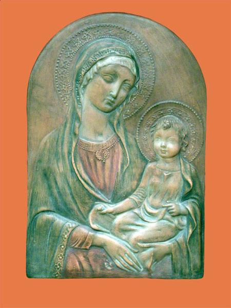 Madonna & Child Hand Painted Antiqued Terracotta - 8 by 13 Inches