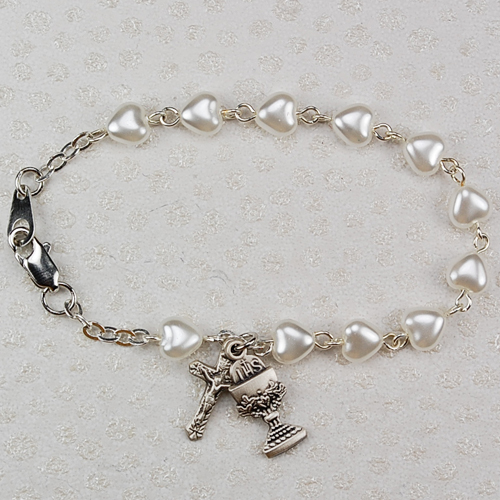 White Heart Shaped Pearl Bracelet for First Communion