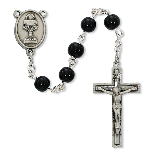 6mm Black Glass Bead Communion Rosary