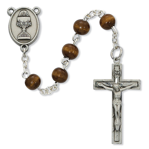 6mm Brown Wood Bead First Communion Rosary