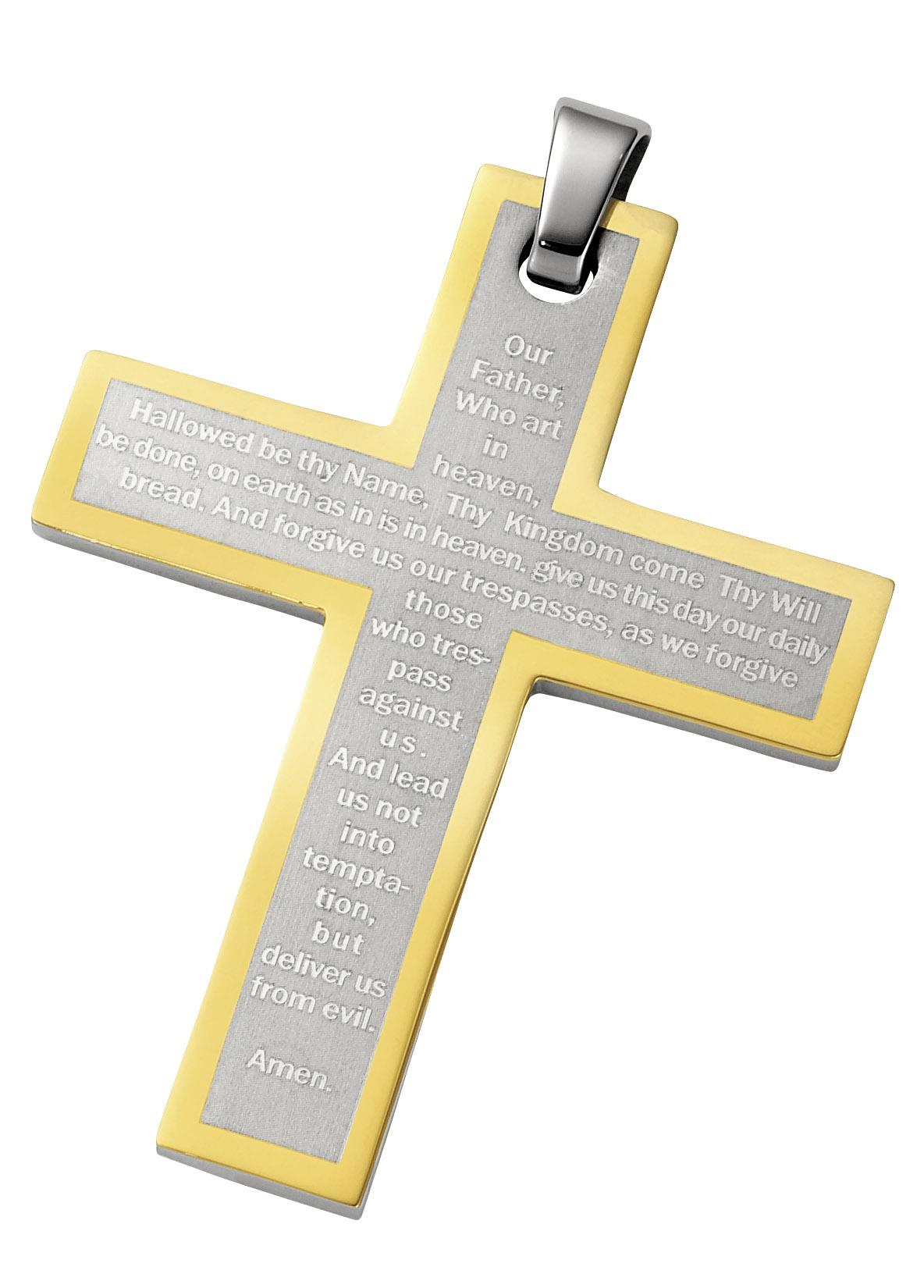 Gold and Stainless Steel Cross with Lord's Prayer
