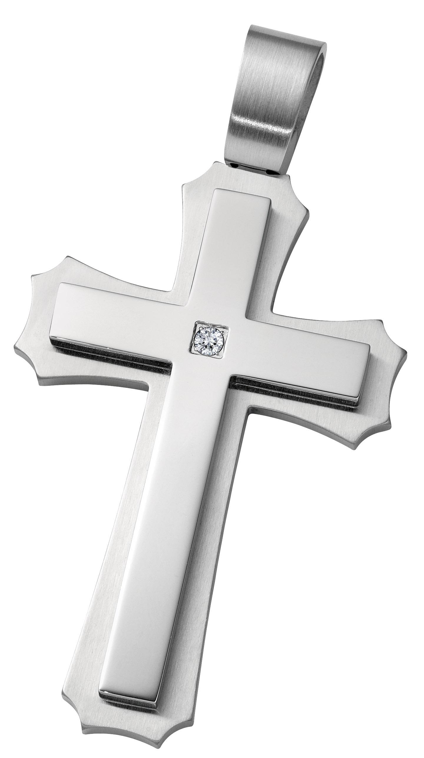 Large Stainless Steel & CZ Cross Pendant