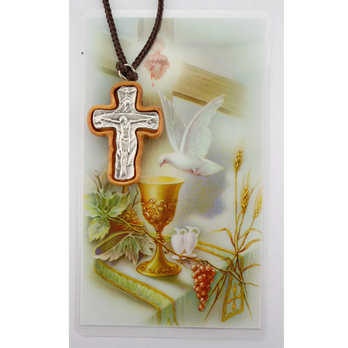 Olive Wood Trinity Cross With Prayer Card