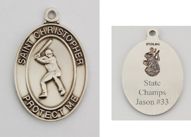 St. Christopher Baseball Medal with Personalizable Back