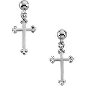 Cross Ball Dangle Earring - 14K White Gold - Pair