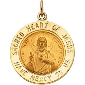 14K Gold Sacred Heart of Jesus Round Charm
