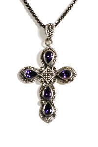 Sterling silver and Amethyst Cross