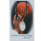 St. Christopher Basketball Medal on Leather Cord