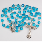 Aqua Crystal Genuine Tin-Cut Rosary With 7mm Beads