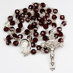 Garnet Crystal Genuine Tin-Cut Rosary With 7mm Beads