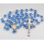 Blue Crystal Genuine Tin-Cut Rosary With 7mm Beads